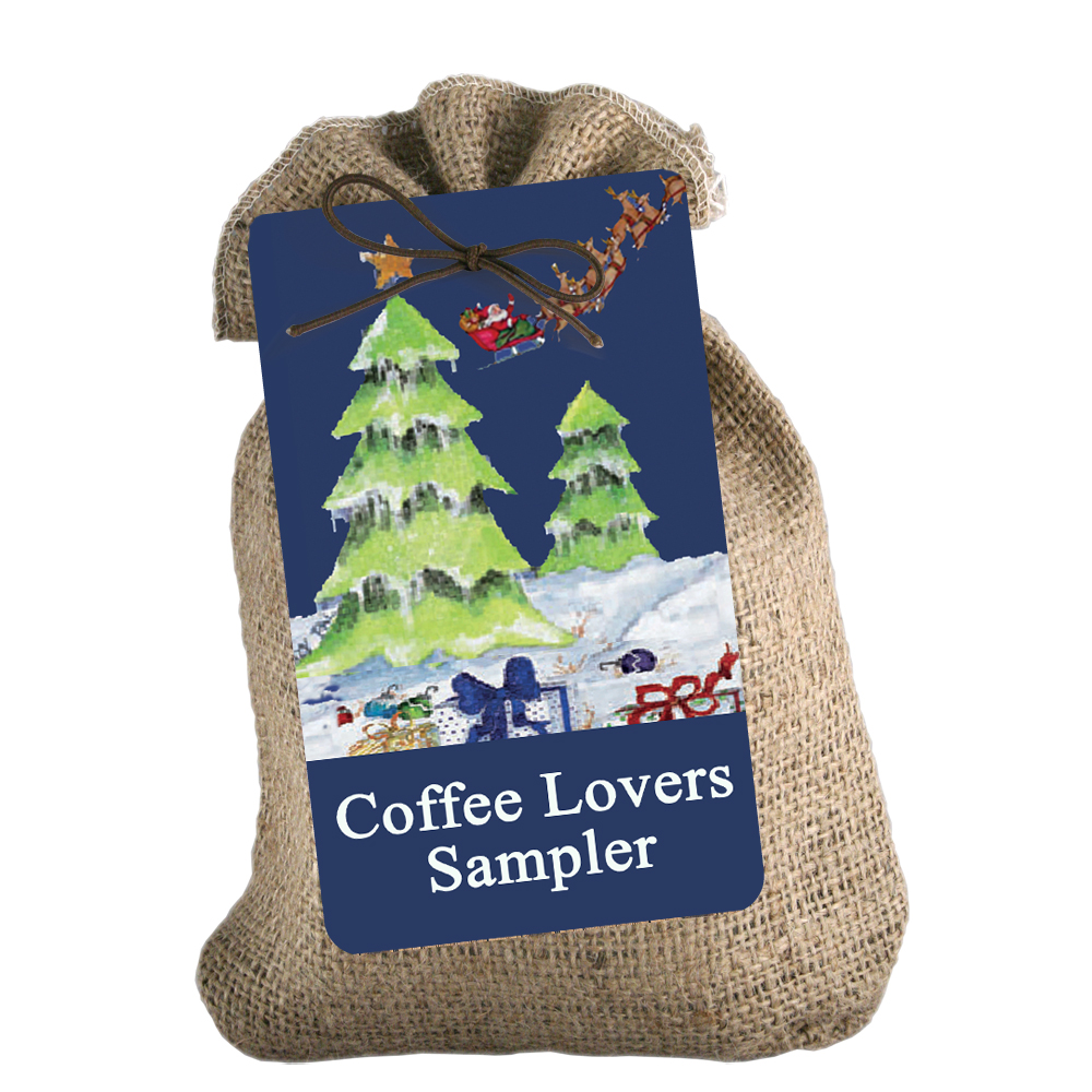 Christmas/Holiday (tree) burlap sampler – Coffee City USA